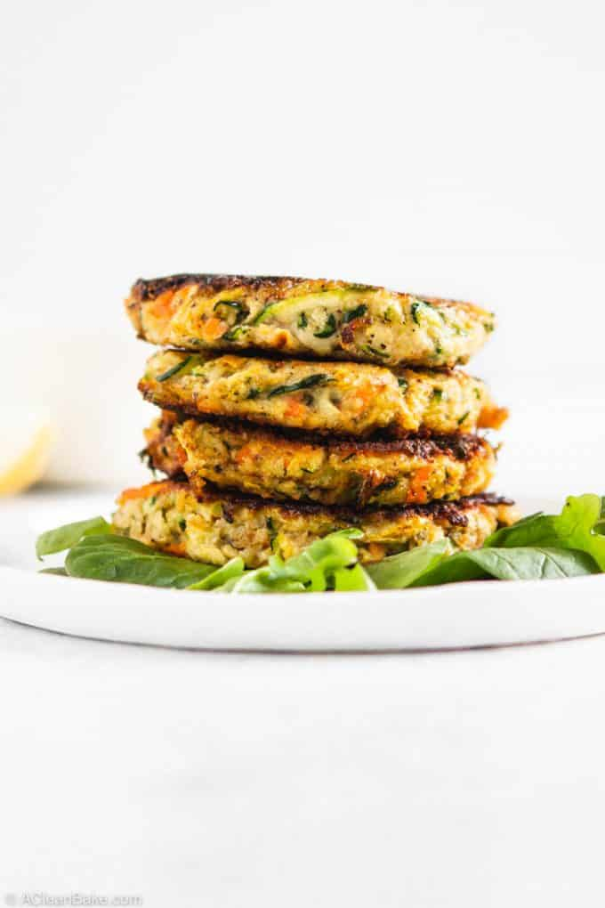 Pile of paleo gluten free vegetable fritters
