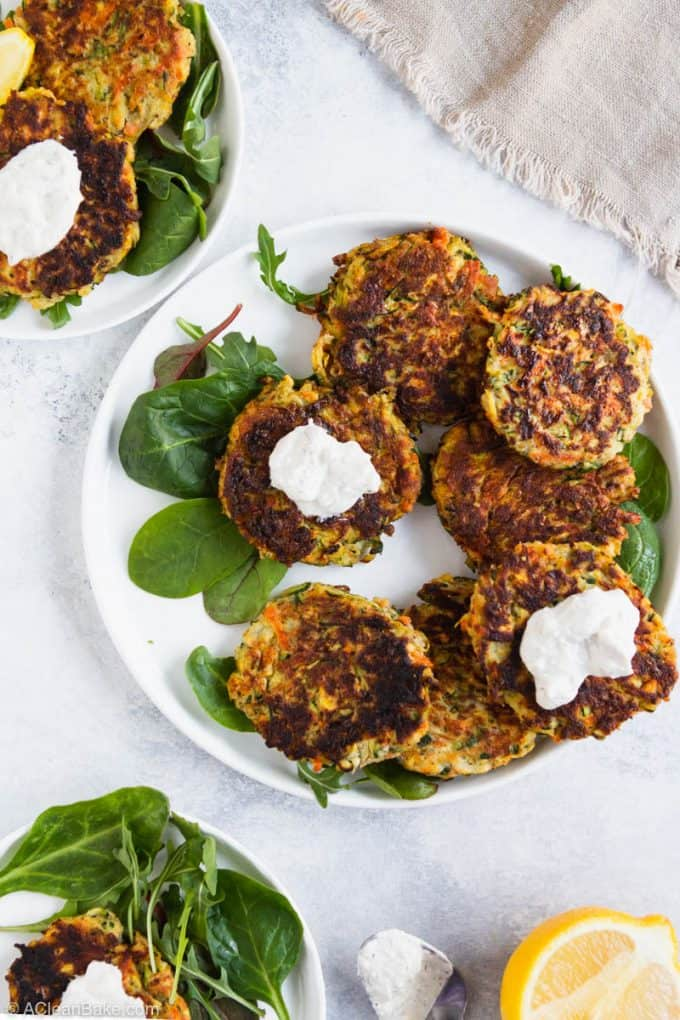 Plate of paleo gluten free vegetable fritters