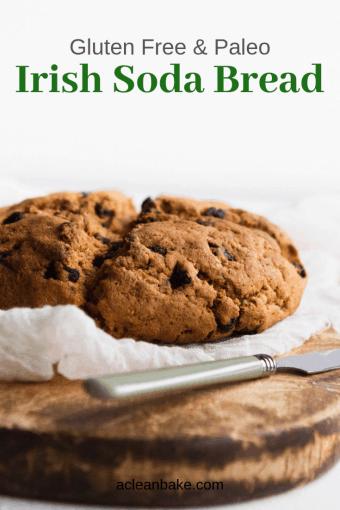 Loaf of paleo gluten free irish soda bread on a cutting board