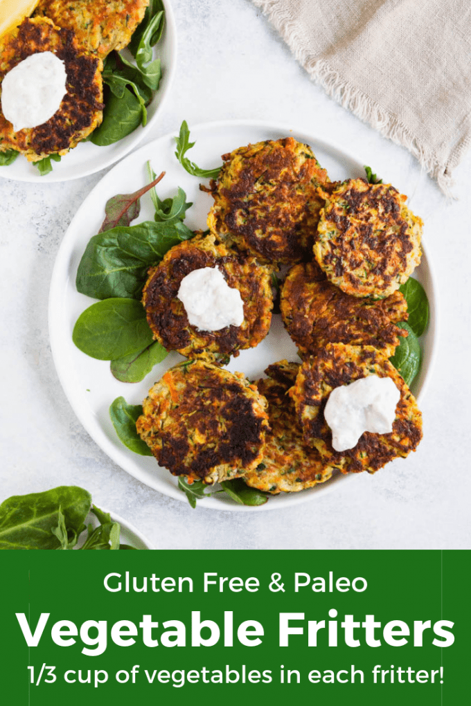 Paleo and gluten free vegetable fritter with yogurt sauce