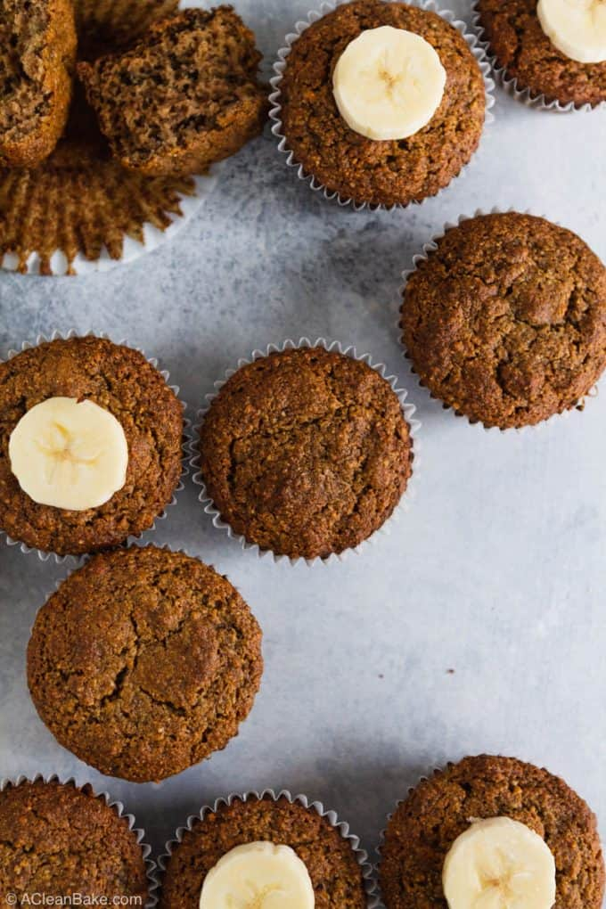 Paleo Gluten Free Banana Muffins on a blue counter