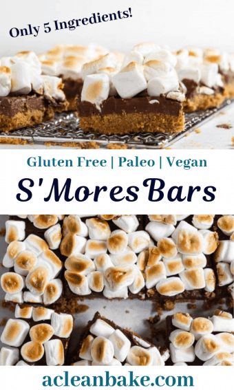 healthy s'mores bars with fluffy marshmallow topping