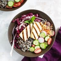 Grilled Tofu and Wild Rice Buddha Bowls with Mint Sauce