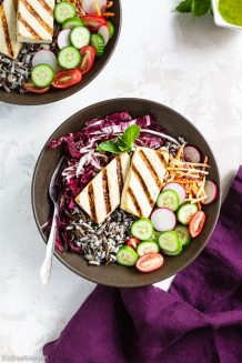 Grilled Tofu Buddha Bowls with Mint Sauce (gluten free and vegan)