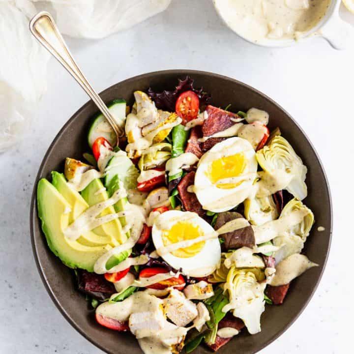 Whole30 Cobb Salad with Lemon Tahini Dressing