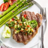 Grilled Strip Steak with Pineapple Jalapeno Salsa