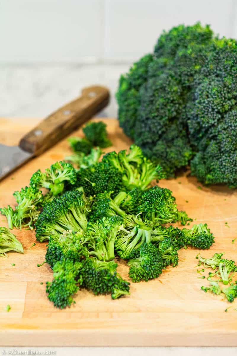 How to Freeze Broccoli: chopped broccoli ready to freeze