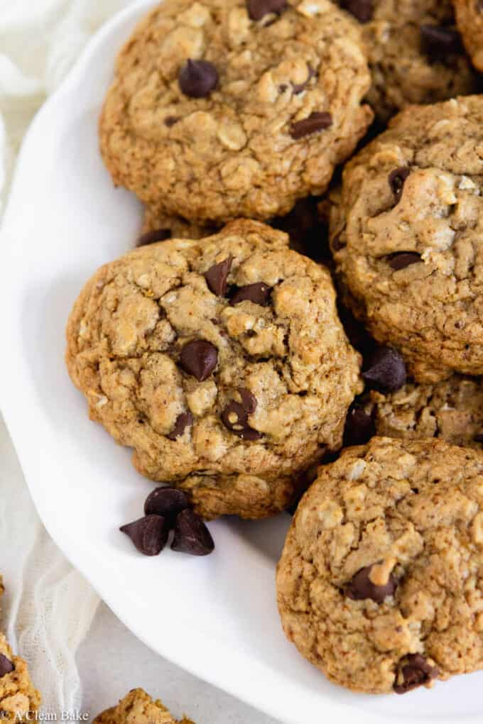 Gluten free oatmeal chocolate chip cookies on a plate