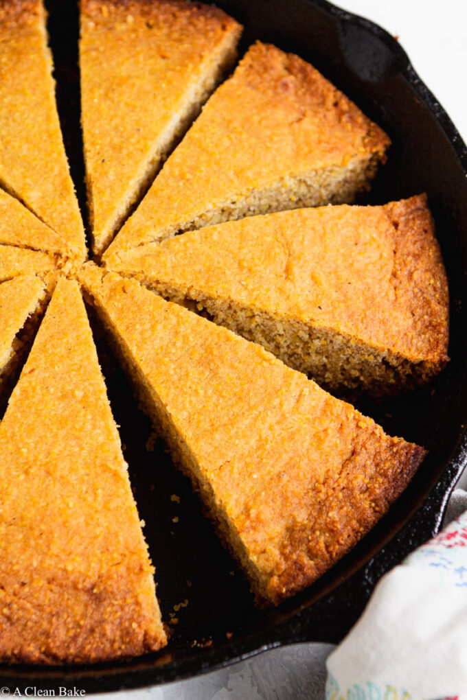 Slices of gluten free cornbread in a pan