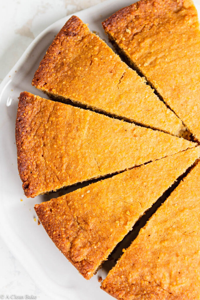 Slices of gluten free cornbread on a plate
