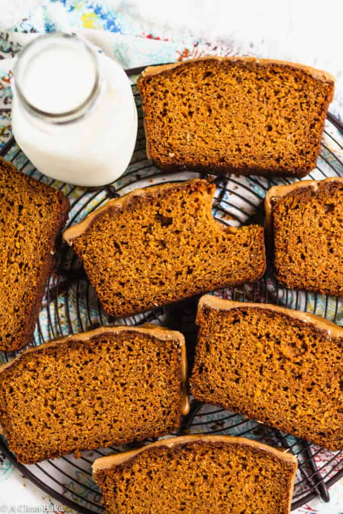 Slices of paleo gluten free pumpkin bread on a cooling rack