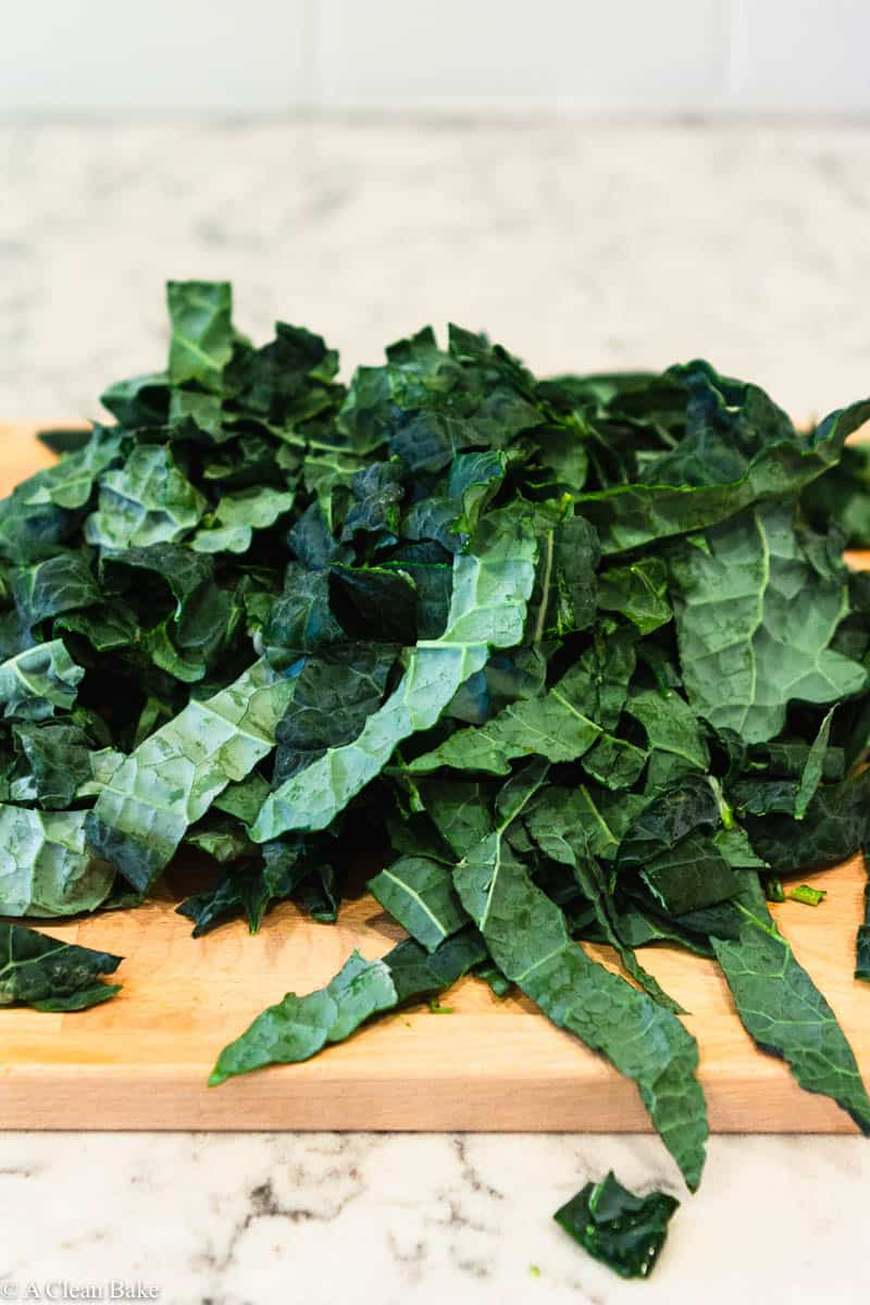 How to freeze Kale: Chopped Kale on a cutting board
