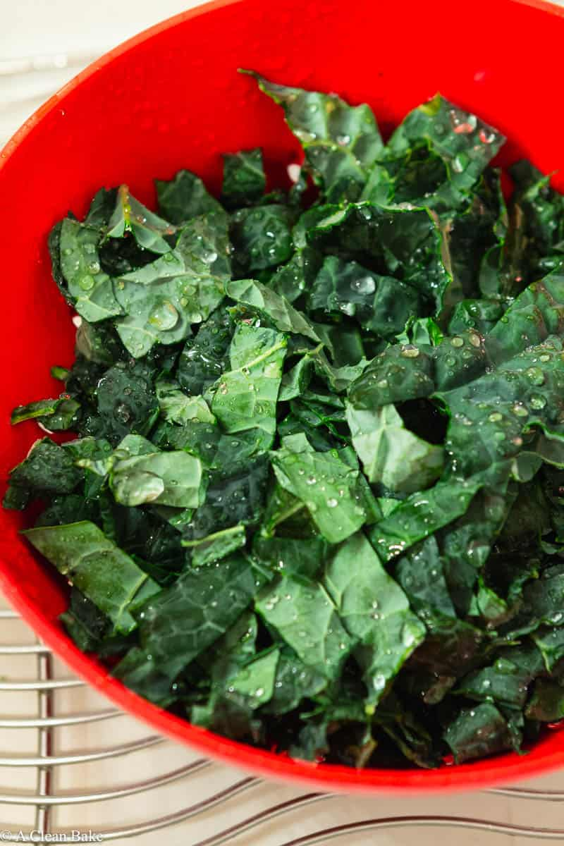 How to freeze Kale: Chopped Kale in a colander in the sink