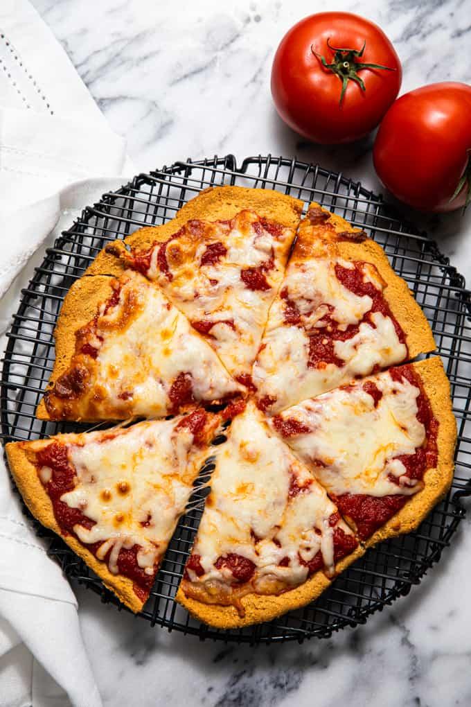 Gluten free paleo pizza crust sliced