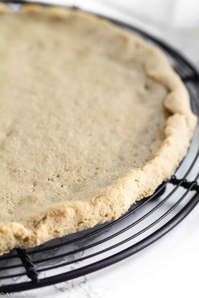 Gluten free and paleo pizza crust on a cooling rack