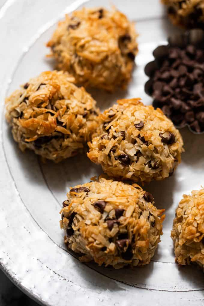 Chocolate Chip Coconut Macaroons on a platter close up