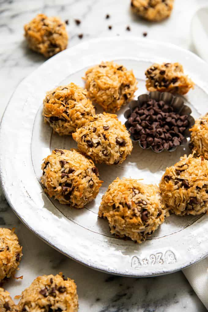 Chocolate Chip Coconut Macaroons on a plate