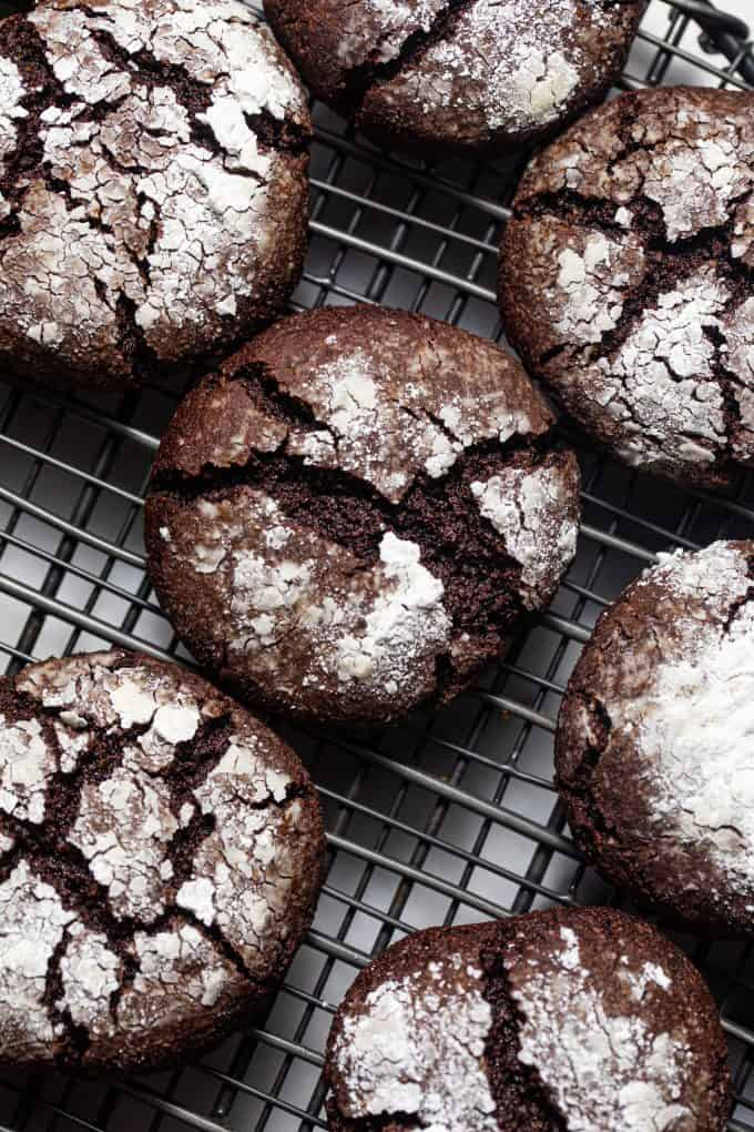 Close up of paleo gluten free chocolate crinkle cookies