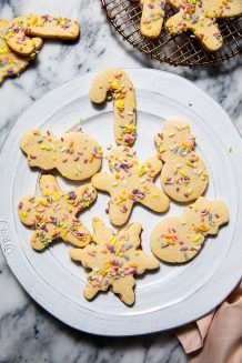 Plate of Paleo Gluten Free sugar cookies on a marble table