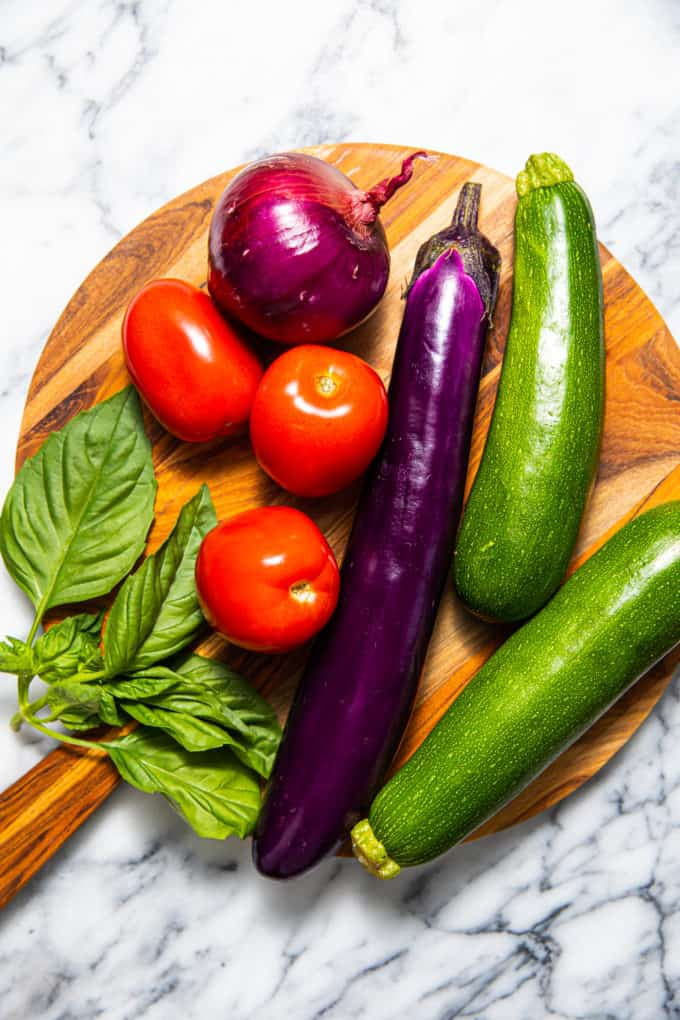 Raw ingredients for easy ratatouille recipe or tian